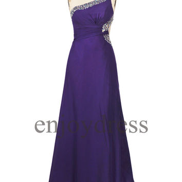 Custom Purple One Shoulder Beaded Prom Dresses Bridesmaid Dresses 2014 Wedding Party Dresses Party Dress Evening Gowns Evening Dresses