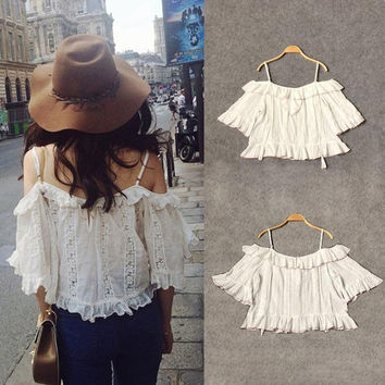 Straight Collar Off-the-shoulder Women Top Bohemian Condole Belt Of Bud Silk Garment Jacket