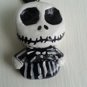 Handmade Polymer Clay Jack Skellington Chibi Pendant Necklace / accessories / jewelry / geekery /