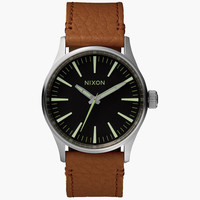 Nixon The Sentry 38 Leather Watch Black/Saddle One Size For Men 25971714901