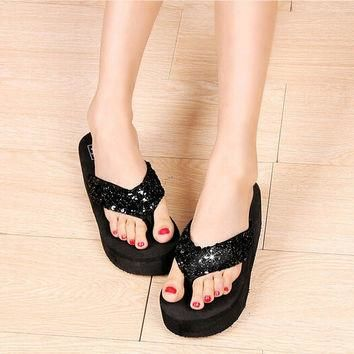 Black Summer beach sandals for women Rhinestone Crystal Wedges Flip Flops Shoes Woman