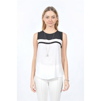 Sleeveless Top w/Button Back Detail, Black