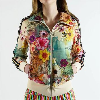 Fashion Online Adidas Originals Women Flower Print Zip Cardigan Jacket Coat Sweatshirt