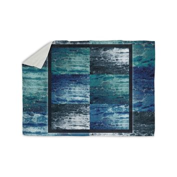 "Nina May ""Tavertina Blue"" Blue Teal Mixed Media Sherpa Blanket"