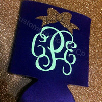 Mardi Gras Monogram - Mardi Gras Beer Can Holder - Mardi Gras Favor - Monogram Can
