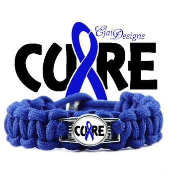 CUSTOM Colon Cancer Brittle Bone Brachial Plexis Epstein Barr Alopecia Huntington's ARDS Blue Ribbon Awareness 550 Paracord Charm Bracelet