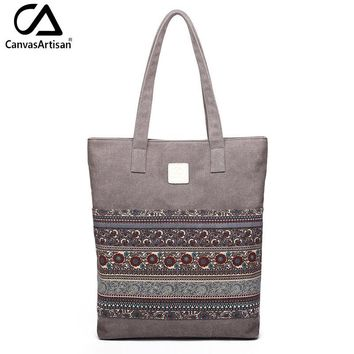 Canvasartisan Brand new canvas women handbags floral vintage female shopping shoulder bag zipper closure tote hand bags