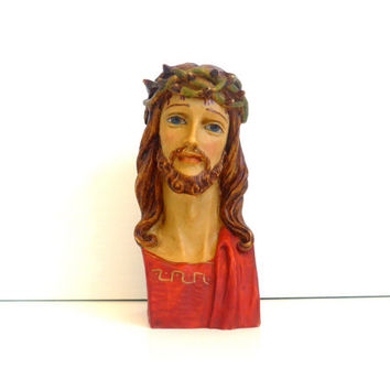 Bust of Jesus Christ with Crown of Thorns - Signed by Artist Vintage Hand Painted Resin Figure Sculpture of Christ with Crown of Thorns