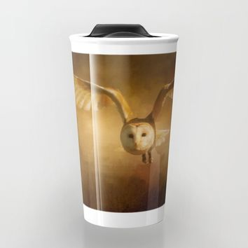 Night Raptor - Barn Owl Travel Mug by Theresa Campbell D'August Art