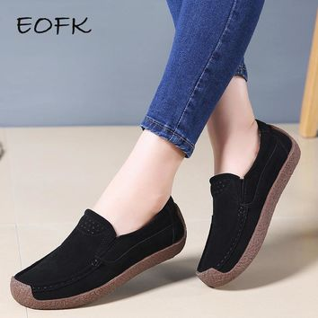 EOFK Spring Women Moccasins Women's Flats Genuine leather Shoes Woman Lady Loafers Slip On Suede Shoes mocasines mujer
