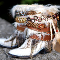 Upcycled REWORKED vintage feathered boho white COWBOY BOOTS - boho boots