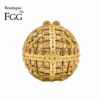 Round Minaudiere Fashion Handbag Women Gold Crystal Clutch Evening Bags Metal Clutches Bridal Party Wedding Purse Bolso De Mano