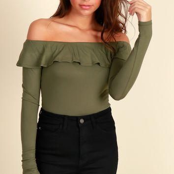 Candy Coated Ruffle Top Olive