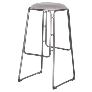 Oasis Industrial PU Leather Bar Stool, Vintage Mist Gray (Set of 2)
