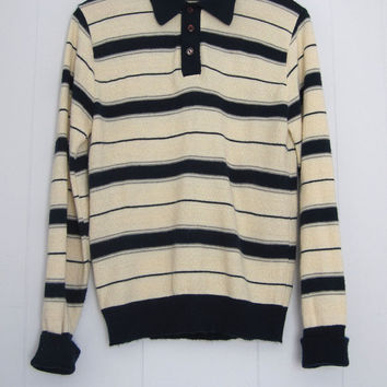 Vintage 70s Knit Retro Disco Striped Polo Shirt Jantzen S