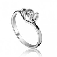Fashion Plaza Use Cubic Zirconia Crystal Double Heart Engagement Ring R37
