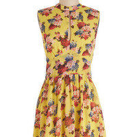 ModCloth Vintage Inspired Mid-length Sleeveless A-line Exchanging Pleasantries Dress