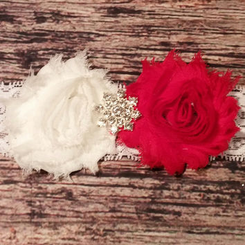 Red and White Shabby with Rhinestone Star Center Headband.