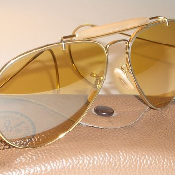 1970's VINTAGE B&L RAY BAN MIRROR/FLASH AMBERMATIC LENS GP AVIATOR SUNGLASSES
