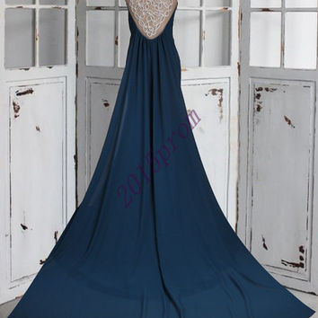 2015 Unique Dark Blue Beaded Prom Dresses,Backless Short Sleeves Party Dresses,Long Train Evening Dresses,Bridesmaid Dresses,Homecomin