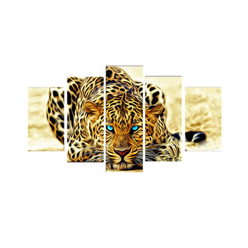 5 Piece Abstract Leopards Canvas Wall Arts Modern Home Decor Animals Picture Print Painting Set Unframed Picture