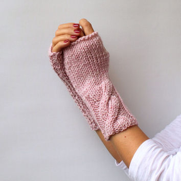 FREE SHIPPING Light Pink Fingerless Mittens - Choose Your Color