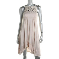 Free People Womens Crochet Embellished Casual Dress