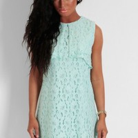 Mint Hue Green Lace Overlay Shift Dress   Pink Boutique