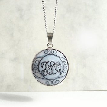 Hand Painted Initial Necklace, Sterling Silver Wood Necklace, Monogram Necklace, Letter Pendant with Chain, 925 Silver Jewelry by Artdora