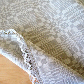 "Linen Tablecloth Natural White Gray checkered 106.3"" x 61"""