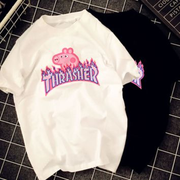 Thrasher& Pig Peggy letter print short sleeve round neck couples T-shirt top White