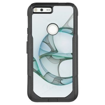 Fractal Art Blue Turquoise Gray Abstract Elegance OtterBox Commuter Google Pixel XL Case