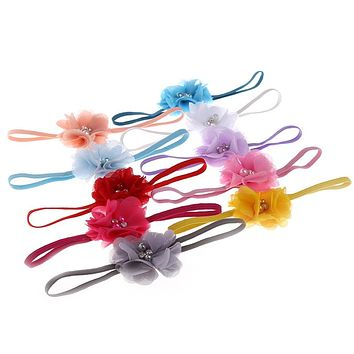 Cute Baby Girls Flower Pearl Hair Band Rhinestone Headband Headdress Color
