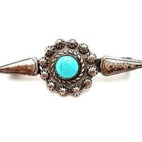 Art Deco Turquoise Bar Pin Silver Brooch Fluted Buttons 1930's