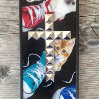 Kitty Silver Studded Cross iPhone 5 Case | Wildflower cases