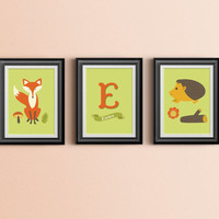Custom Home Decor- Fox and Hedgehog Forest Friends Personalized Initial and Name Nursery Wall Art