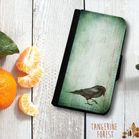 Poe Inspired Dark, Grunge Raven Wallet Case. iPhone 4//4s, 5c or 5//5s. Samsung Galaxy S3 or S4.
