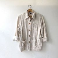 vintage linen shirt. button up linen jacket. natural linen minimalist shirt. oatmeal pocket shirt.