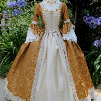 Rococo Marie Antoinette Gown Brocade and Silk Custom Medium