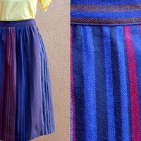 Vtg Wool Blend A line Midi Skirt Striped Button UP blue navy red Medium Large