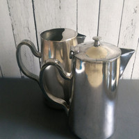 D.W. Haber and Sons Coffee Pot and Matching Water or Tea Pitcher/ Vintage Silver Coffee Pots