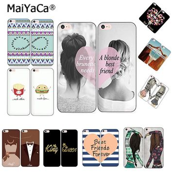 MaiYaCa Best Friends BFF two girls Couple each other phone shell king queen Phone Case For iPhone 5s 6s 7 8plus x xs max xr case