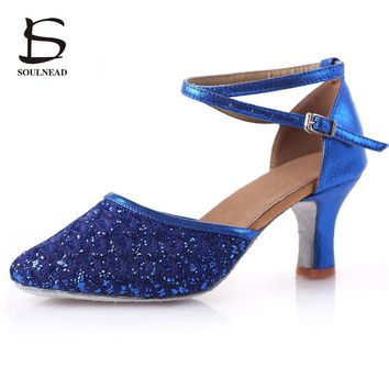 Adult Ladies Women Latin/Salsa/Tango Dance Shoes Closed Toe Glitter Blue/Black Ballroom Dance Shoes High Heels 5/7cm Party Shoes
