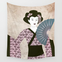 Geisha Wall Tapestry by kathrinmay