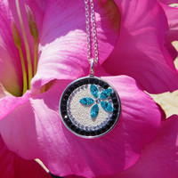 Sterling Silver Flower Pendant with Swarovski Crystals, Swarovski Crystals, black, sterling silver, crystal, light turquoise, Crystal Icing