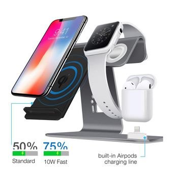 3 in 1 Qi Wireless Fast Charger for iPhone X / 8 8plus wireless Charging Stand for Apple Watch For AirPods Charging Station