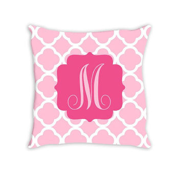 Monogram PILLOW Quatrefoil Frame Custom THROW Pillow with Insert or Pillow SHAM Pillow Case Choose Colors & Size Decor Nursery Bed