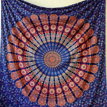Cotton Printed Hippie Mandala Fabric Tapestry Throw Bohemian Wall Hanging Bedspread Bedding Ethnic Home Decor - FabricSarmaya