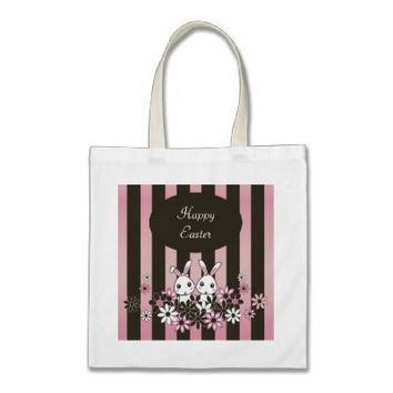 Cute Bunny Personalized Tote Bags for Girls: Lovely Gift Idea for Easter or Girl Twin Birthday