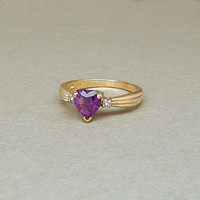 Genuine 14K Gold Diamond AMETHYST Heart RING Hallmarked Bridal Engagement Jewelry c.1960s